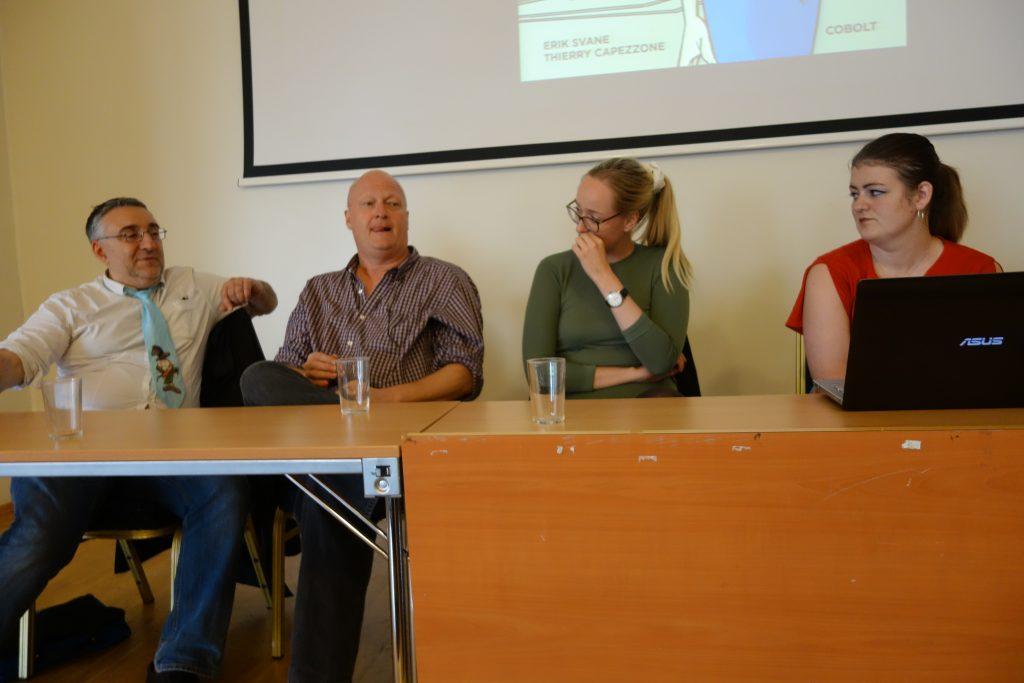Henrik Rehr i paneldebatt om research med Thierry Capezzone (f.v.) og Karoline Stjernfelt