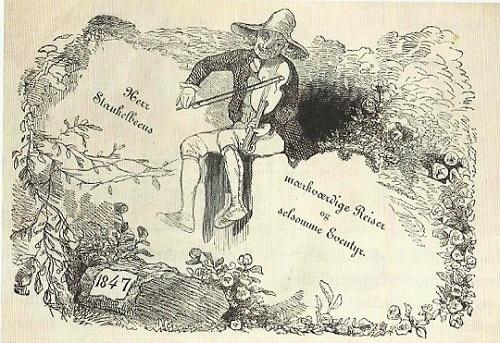 """""""Herr Stankelbeens mærkværdige Reiser og selsomme Eventyr til Lands og til Vands"""" (1847) ble nok en gang trukket fram av Hellesund som en av de viktigste proto-tegneserieutgivelsene i Norge"""